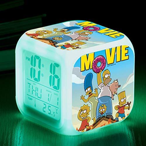 FTIK Reloj Despertador Cuadrado pequeño Digital de la Familia Simpson, luz de Noche silenciosa Luminosa Led de Despertador, batería USB Que Cambia de Color Colorido A8