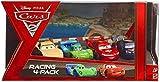 Disney / Pixar CARS 2 Movie Exclusive Die Cast Car Racing 4Pack Lightning McQueen with Racing Wheels, Max Schnell, Jeff Gorvette Carla Veloso by Mattel