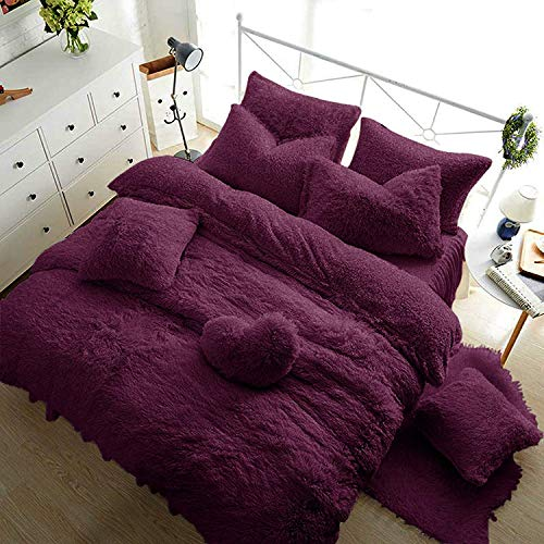Sleep&Snuggle Teddy Fleece Luxurious, Super Soft Warm and Cosy Bedding Sets (Purple, Double Duvet Set)