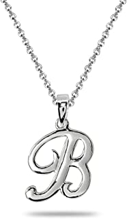 Sterling Silver Initial Alphabet Letter Name Pendant Necklace Personalized Gifts for Women Teens Girls