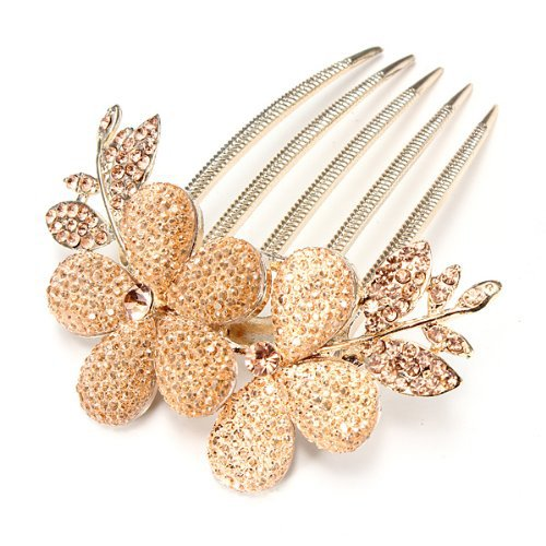 Five Season 1pcs Charm Fashion Lady Girl Flower Pattern Alloy Rhinestone Barrette Hair Clip Comb--Gold by Five Season