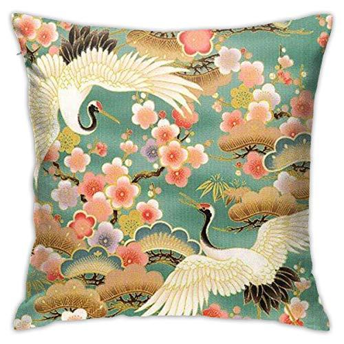 LuoYangShiLaoChengQuTianYuGangCaiXiaoShouBu China Crane Peony Japanplush Pillowcase Romantic Living Room Family Bedroom Pillowcase 18 X 18 Inches