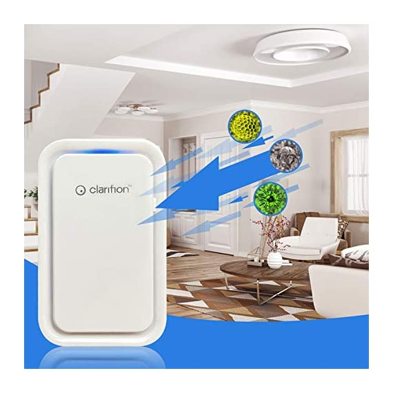 Clarifion - negative ion generator with highest output (1 pack) filterless mobile ionizer & travel air purifier, plug in… 4 for use in: bedrooms, corridors, bathrooms, living rooms, staircases, and other spaces/rooms. Removes bacteria & viruses | reduces allergens | relieves congestion | chemical free | helps reduce asthma | cleaner air eliminates dust, smog, smoke, allergens, pet dander, & bacteria to help keep air fresh & clean | smart design with led indication