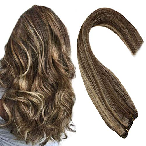 Sunny 18inch 100% Remy Brazilian Human Hair Weft Bundles Dark Brown with Caramel Blonde Weft Hair Extensions Human Hair One Piece 100g Per Pack