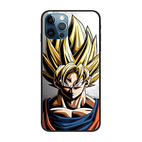 YAOYAN Soft Black Thin Silicone Anti-Slip Fundas Coque Durable Case for Apple iPhone 12 Pro MAX-Goku-DBZ Super Kakarot 7