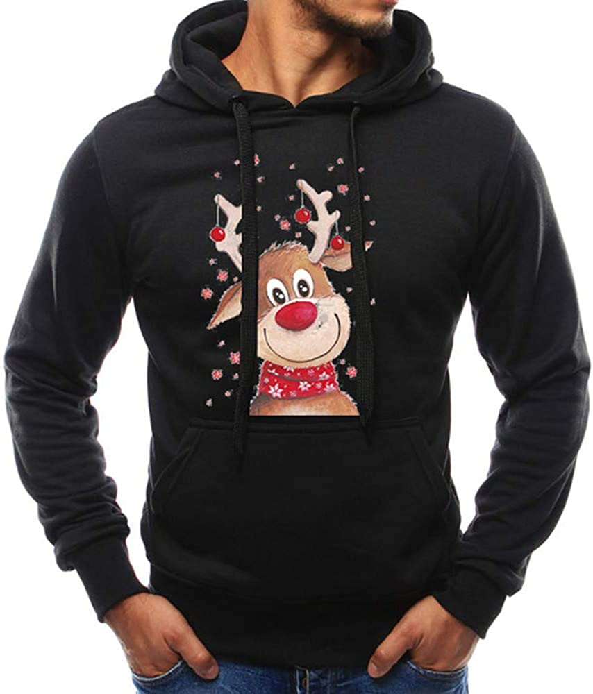 Ugly Christmas Hoodies, F_Gotal Men's Holiday Reindeer Snowman Santa Snowflakes Sweater Sports Outwear Hooded Sweatshirt