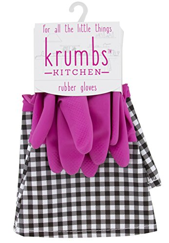 Krumbs Kitchen Rubber, Pink Gingham Glove Liners, One Size