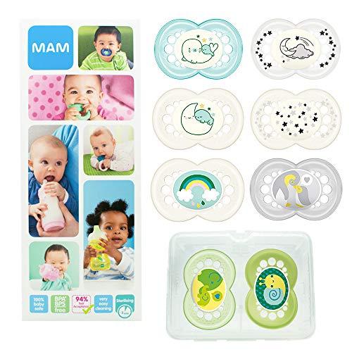 MAM Day & Night Soothing Set, juego de regalos para bebés de +6 meses, 4 chupetes de silicona Original +6 (2x día y 2x noche) y otros 4 para +16 (2x día y 2x noche),Unisex