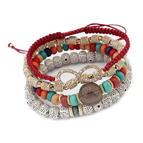 YAZILIND Bohemia Multi-Layer Resin Bodhi Beads Elastic Chain Bracelet Prayer Buddhist Bracelets(Red)