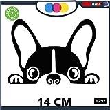 Pegatina para coche con diseño de bulldog francés – Stickers Notebook – Perro, Perros, adhesivos para perros, Stickers Auto – Accesorios, Stickers, Decal Cód 1297 (negro)