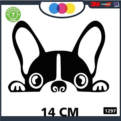 Adesivo per Auto - Bulldog Francese - Stickers Notebook - Cane, Cani, Adesivi Cani, Stickers Auto - Accessori, Stickers, Decal cod 1297 (Nero)