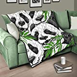 Flowerhome Panda Bambus Tagesdecke Steppdecke Bettdecke Bettüberwurf Sofadecke Couchdecke Schlafdecke Wohndecken Kuscheldecken für Erwachsene Kinder White 230x280cm