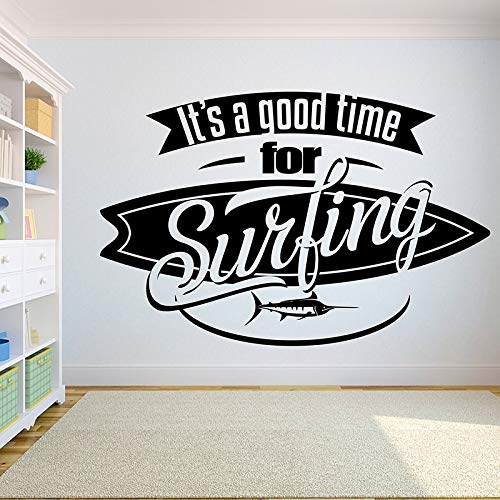 fancjj Home Decor Removeable DIY Vinyl Wall Sticker It's Time for Surfing with Swordfish Surfboard Wall Decal Extreme Sports