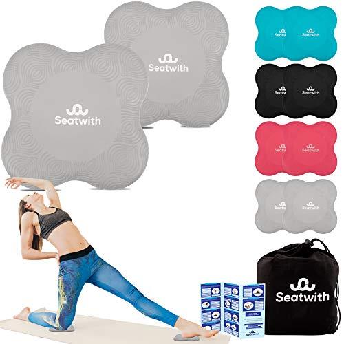 Seatwith Yoga-Knie-Pad 2er Pack Kniekissen mit Transportbeutel+Trainingsanleitung Maximale Entlastung und Unterstützung der Knie Handgelenke und Ellbogen Knieschoner 20 x 20 cm Fitness Pilates GRAU