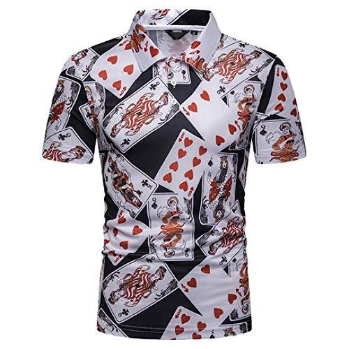 CZPF heren compressie shirt zomer mannen ademend en sneldrogend T-shirt speelkaarten gedrukt Europese code korte mouwen Polo Shirt
