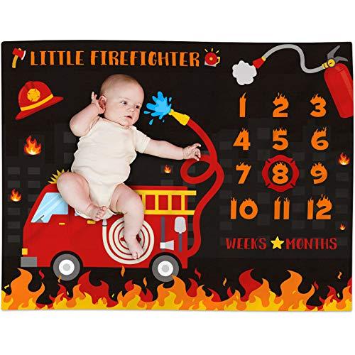 Fire Truck Baby Milestone Blanket for Boy Little Firefighter Monthly Growth Tracker Soft Plush Fleece Nursery Blanket Newborn Baby Boy Bedding Photography Background