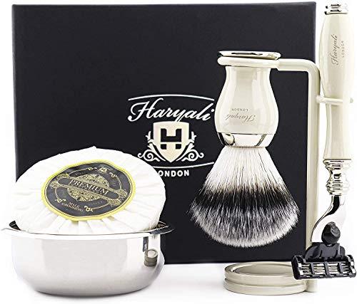 Premium Shaving Kit Geschenk für Männer (Dreikanten-Kartusche Rasierer, Pinsel, Schüssel, Stand) Marken-Box