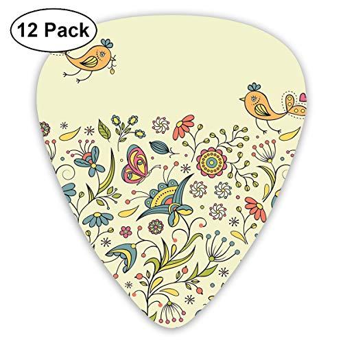 Guitar Picks12pcs Plectrum (0.46mm-0.96mm), Flourishing Spring Meadow Ornate Artistic Nature Romantic Birds Butterflies Leaves,For Your Guitar or Ukulele