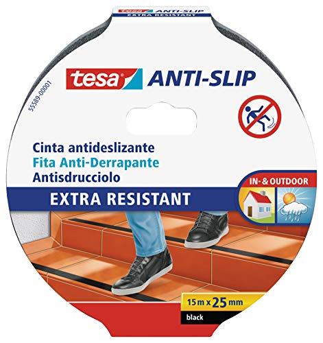 tesa Anti-Rutschband - Rutschfestes Klebeband für innen und außen - Für Treppen, Leitern und glatte Böden - Schwarz - 15 m x 25 mm