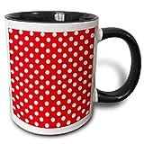 Tazza a pois bianchi su rosso - Motivo a macchie carine in stile classico retrò anni '50 'Tazza nera a due toni, 11 once, multicolore