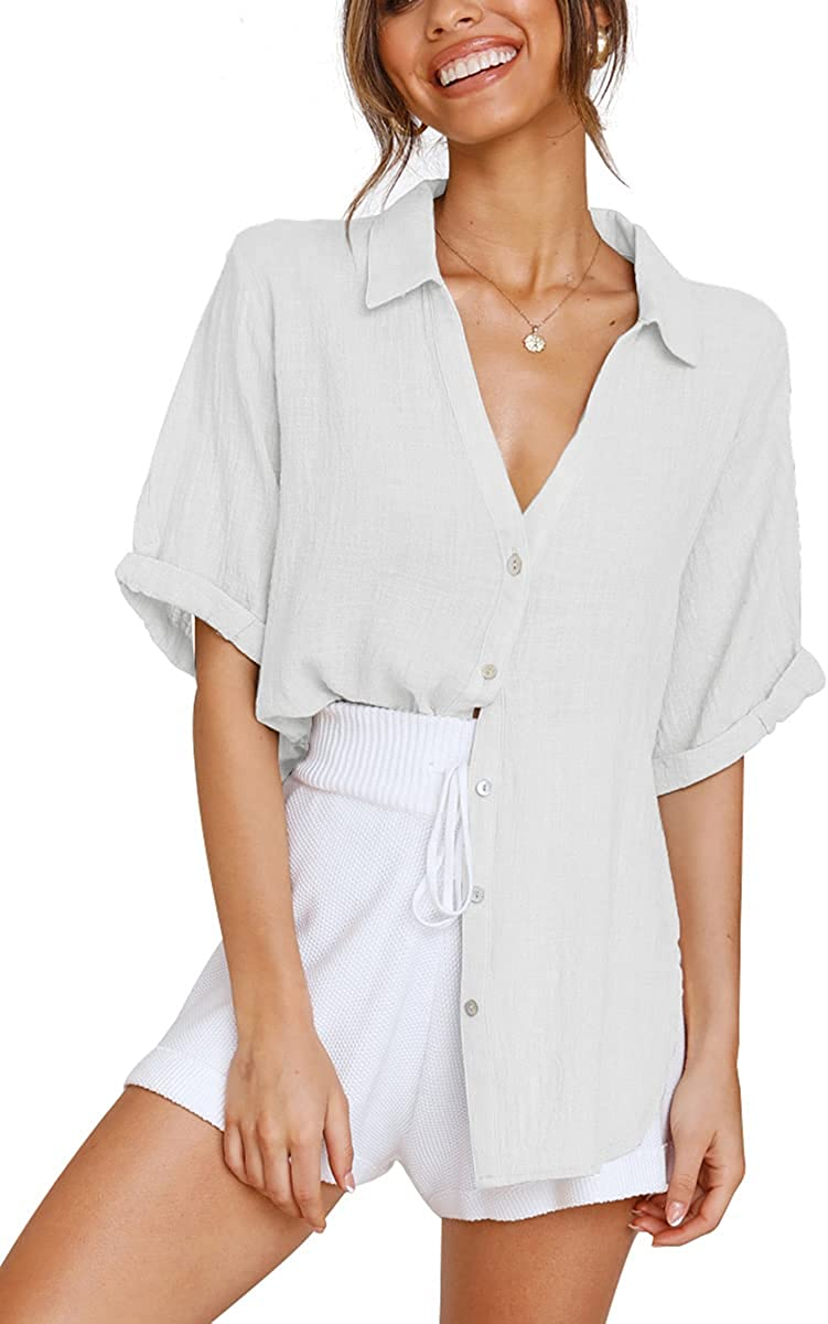 LOMON Womens Short Sleeve Button Down Shirts Cotton Linen Collared V Neck Tops Blouses Business Casual