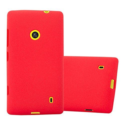Cadorabo Custodia per Nokia Lumia 520 in Frost Rosso - Morbida Cover Protettiva Sottile di Silicone TPU con Bordo Protezione - Ultra Slim Case Antiurto Gel Back Bumper Guscio