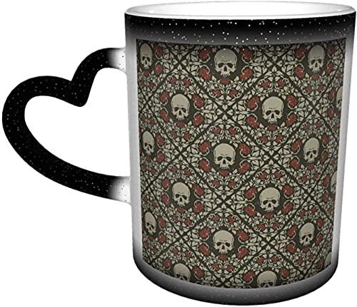 MENYUAN Tazas de café calaveras y rosas sensibles al calor Color cambiante taza en el cielo taza de cerámica regalos personalizados para los amantes de la familia amigos