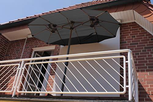 Leco Balkon-Ovalschirm anthrazit Sonnenschirm, ca. L 270 x B 150 x H 195 cm