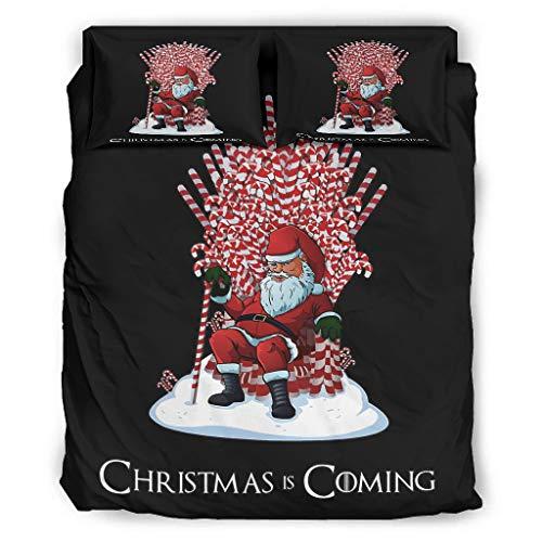 Ftcbrgifk Juego de sábanas de 4 piezas, diseño de Papá Noel de Navidad, resistente a la decoloración, reversible, para cama de 228 x 264 cm, color blanco