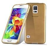 Cadorabo Coque pour Samsung Galaxy S5 / S5 Neo en Or – Housse Protection Souple en Silicone TPU avec Anti–Choc et...