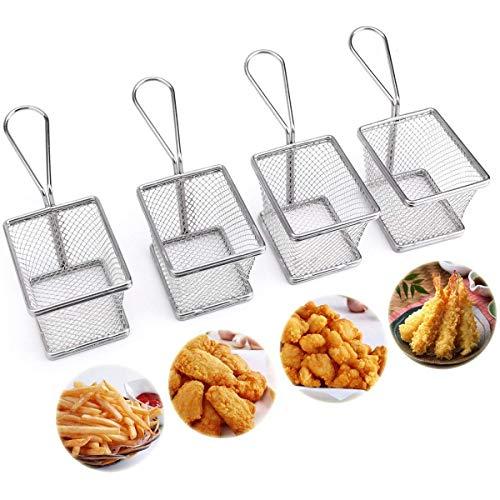 StillCool Frittierkorb friteusenkorb Frittierkörben Edelstahl Mini Chip Serving Baskets Fryer , Speisenpräsentation Korb, 10x8x7.5cm