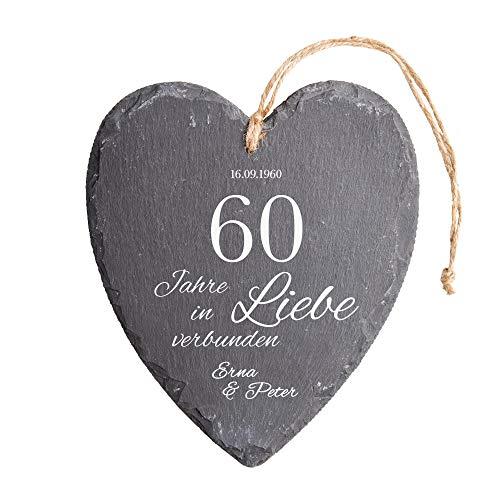 Casa Vivente Schieferherz mit Gravur zur Diamantenen Hochzeit, Personalisiert mit Namen und Datum, Wanddeko mit Juteband zum 60. Hochzeitstag