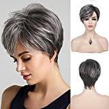 Wiwige Womens Short Grey Wig Layered Synthetic Heat Resistant Pixie Hair Wig for Daily Party Use