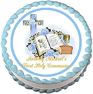 First Holy Communion Blue Edible Frosting Sheet Cake Topper - 7.5