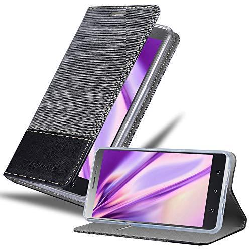 Cadorabo Hülle für Lenovo P2 - Hülle in GRAU SCHWARZ – Handyhülle mit Standfunktion & Kartenfach im Stoff Design - Case Cover Schutzhülle Etui Tasche Book