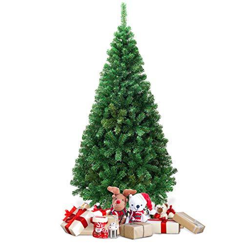 COSTWAY Albero di Natale Artificiale Pino con Supporto in Metallo, Verde, 150-240cm (180cm)