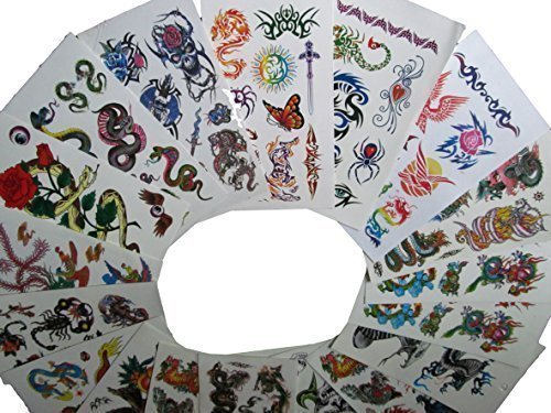 10 ou 20 Feuilles (75-150+ tatouages) Pour Hommes Garçons Pour Hommes Noir Celtique Chinois Dragons, crânes, scorpion, aigle, oiseaux & Tigre style Tatouages Temporaires pour les fêtes, cadeaux, etc - par Fat-catz-copie-catz - 10x draps pour garçons tatouages, Taille Unique