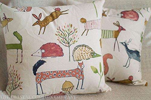 The Coastal Cushion Company Funda de cojín con diseño de Ciervo, Erizo, Zorro y Coco. Bonito diseño, Cuadrado de 17 x 17 Pulgadas, 100% algodón.