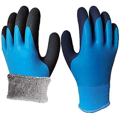 Waterproof Thermal Winter Work Gloves Polar Fleece Liner Superior Grip Double Latex Coating Gloves(Large-1PACK)