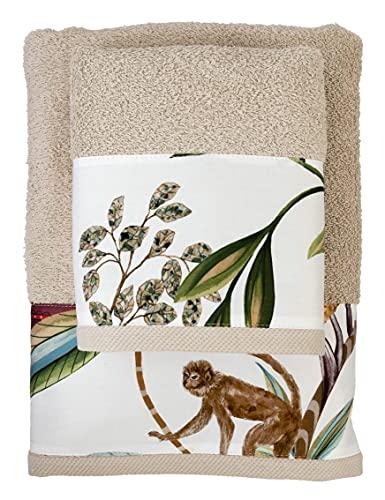 FILET Juego de Toallas para Cara + invitado, con impresión Digital aplicada, Color cordón, algodón, 64 x 110 cm, 40 x 60 cm