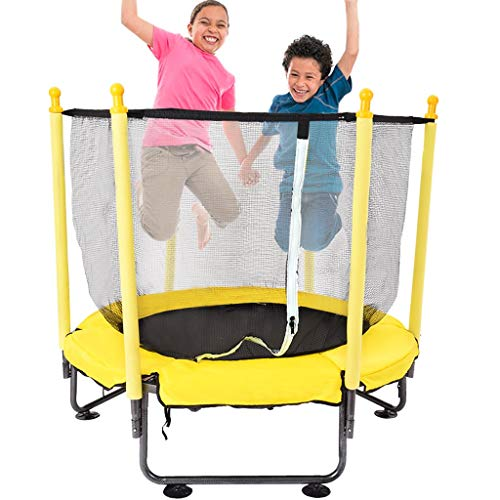 50In Kids Trampoline with Enclosure Net and Spring Cover Padding,Backyard Safety Sports,Jumping Bed with Enclosure Net Trampoline Fitness Equipment for Adult Kids, Best Gifts for Children (Yellow)
