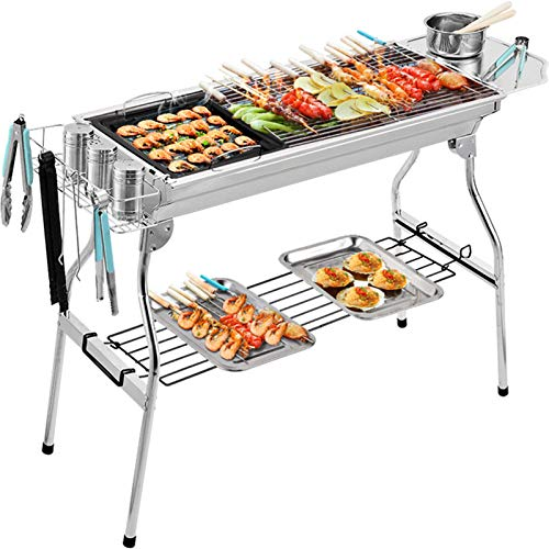 WeiX Barbecue,Portable Bbq,Stainless Steel Foldable Barbecue Grill,for Cooking Camping Picnic Outdoor Garden Charcoal BBQ Grill Party,Suitable for 5-10 People