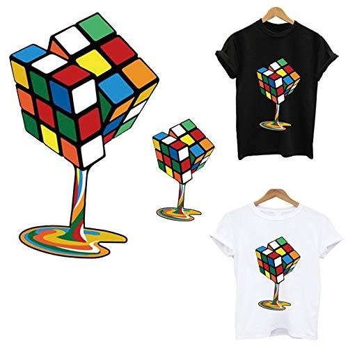 Ropa Con Estampado De Cubo De Rubik Creativo, Parches Para Planchar, Camiseta Diy, Aplique De Transferencia De Calor, Pegatina, Decoración De Ropa, Accesorios De Ropa