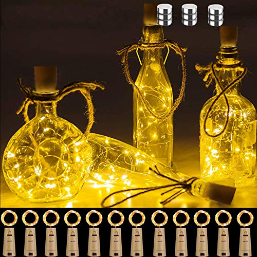 Chipark Bottle Lights with Cork, 12 Pack Cork Shaped Battery Operated Wine String Lights Copper Wire Fairy Mini DIY Lights for Party Birthday Christmas Wedding Home Table Decor, Warm White