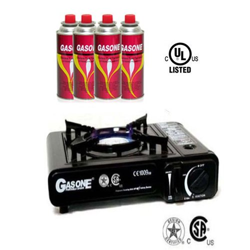 GasOne Gas ONE Portable Butane Gas Stove with 4 Butane Fuel