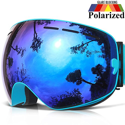 COPOZZ Ski Goggles, G1 OTG Snowboard Snow Goggles for Men Women Youth, Interchangeable Double Layer Anti Fog UV Protection Lens, Polarized Goggles Available (G1-Polarized Blue Lens (VLT 24.5%))