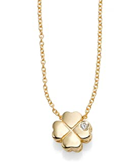 14k Yellow Gold 0.005ct 1 Millimeters Diamond 4 Leaf Clover Pendant Necklace, 18 Inches