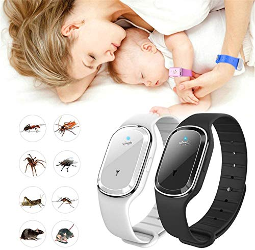 Ultrasonic Mosquito Repellent Bracelets,3 Speed Drive Set Intelligent Mosquito Repellent Wristband,Waterpoor Pure Physical Mosquito Repellent Travel/Camping Accessories
