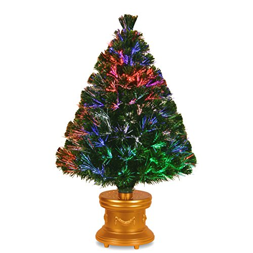 National Tree Company Pre-lit Artificial Christmas Tree Flocked with Mixed Decorations and Multi-Color LED Lights, 3 ft, Fiber Optic Evergreen Firework