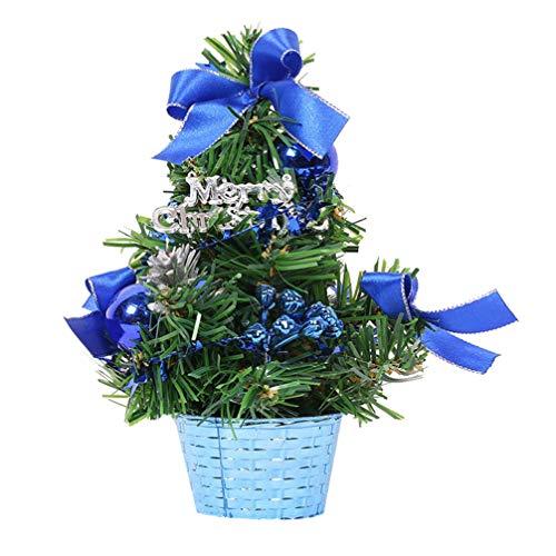 Amosfun Mini decoración Artificial de árbol de Navidad de 20 cm con Arcos y Base de Canasta árbol de Navidad de Mesa en Miniatura para Fiestas navideñas Escuela de Oficina en casa (Azul)